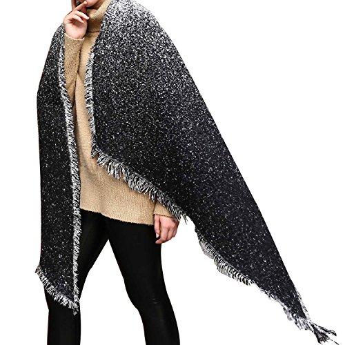 Licht Grau Wolle (UTOVME Damen Wolle Kaschmir Feel Faschion Warm Beveled Gradient Fringed Schal Cape Grau Einheitsgröße)