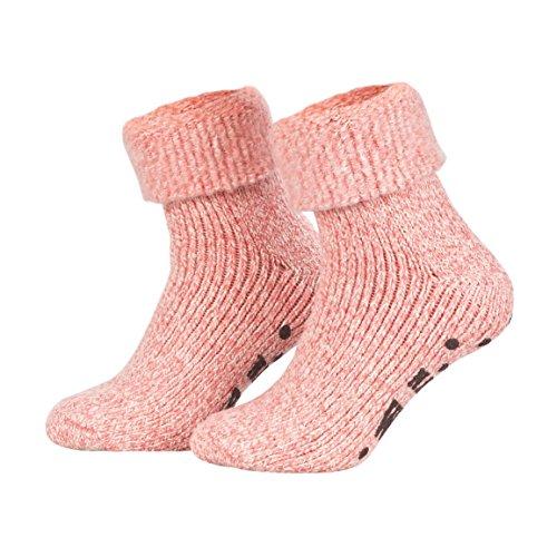 Piarini ABS Stoppersocken / Wollsocken / Wintersocken / Norwegersocken mit Innenfrottee für Damen, Herren, Jungen und Mädchen | 1 Paar rosa-meliert 35-38