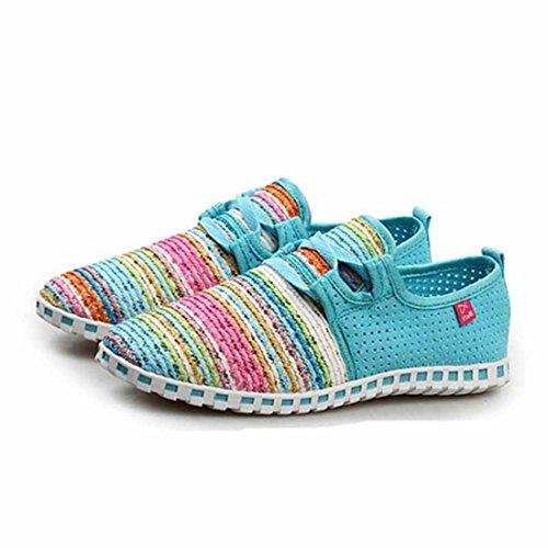Unisex Popular Geometric Pattern Super Light Walking Shoes women light blue