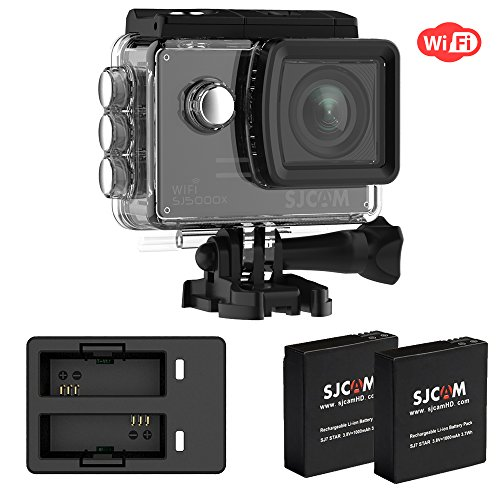 """4k Wifi Action Camera Set, SJCAM SJ5000X Elite Waterproof Underwater Video Camera with 2 Extra Batteries & Dual Charger Included- Gyro Stabilization/2"""" Large LCD Screen/SONY Sensor- Black"""