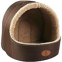 Casa de animal domestico - HOOPET iglu de cuerva de estera caliente de dormido de casa de cama de gatito gato perrito perro suave y lujosa(cafe, M)