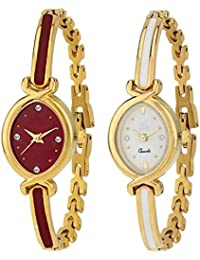 Swadesi Stuff Luxury Bangle Red-Gold White-Gold Watch Combo Of 2 Fashion Watches For Women & Girls B2
