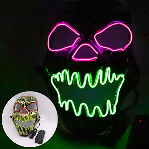 Light Tanz Kostüm Up - Kampre Skelett LED leuchtende Maske Halloween Light Up Scary Maske Grimasse Festival Kostüm Arts Crafts mit Gummiband für Erwachsene Tanz, Cosplay, Maskerade, Party