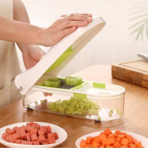 GARLIH Multifunktions-Food Chopper Manueller Veggie Chopper Slicer Dicer 2 Austauschbare Schneidwerkzeuge mit Reinigungsbürste für Lebensmittelbehälter (Edelstahl Veggie-chopper)