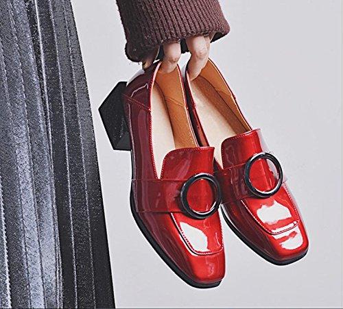 Le nouveau côté avec une petite chaussures carrés avec des chaussures petites rondes avec des chaussures sauvages chaussures de sport Red