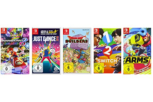 Mario Kart 8 Deluxe + Just Dance 2018 + Dragon Quest Builders + 1-2-Switch + ARMS [Nintendo Switch] (Wii U Super Mario Kart)