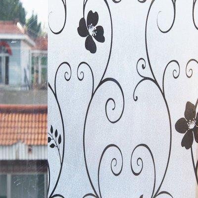 XI.W.H Schattierung frosted Zellophan Badezimmer Badezimmer Schiebefenster- und Schiebetürsystem Papier, Aufkleber wasserdichte durchsichtige selbstklebende Folie, 75 cm breit schwarz Blume 2 m