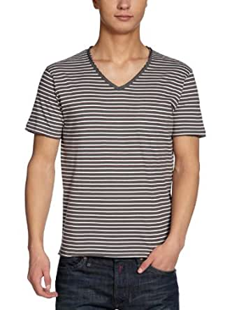 SELECTED Herren T-Shirt, gestreift 16025643 Riley ss v-neck, Gr. 50 (M), Mehrfarbig (Dark Shadow)