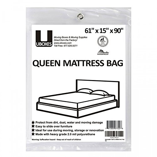 UBOXES Moving Supplies Queen Size 90 x 15 x 61 Inches 2 MIL Heavy Duty Polyethylene Mattress Cover QUEENCOVER01