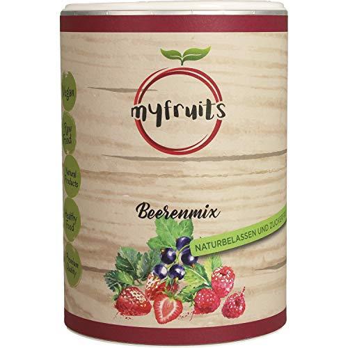 myfruits® Beerenmix - Mischung aus gefriergetrockneten Früchten - Ohne Zucker - Erdbeerscheiben, Himbeeren, schwarze Johannisbeeren 80g
