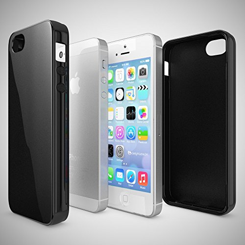 iPhone SE 5 5S Coque Silicone de NICA, Ultra-Fine Housse Protection Cover Slim Premium Etui, Mince Telephone Portable Gel Case Bumper Souple pour Apple iPhone 5 5S SE Smart-Phone - Blanc Noir
