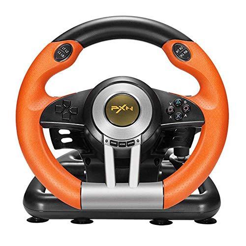 LKJCZ Rennlenkrad-Controller mit 180-Grad-Rotation für PC PS3 PS4 Xbox One All in Einem/Hostschalter, Orange