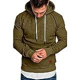 KUDICO Herren Kapuzenpullover Herbst Winter Solid Casual langärmeliges Sweatshirt Top Bluse Tracksuits mit Front Känguru Tasche, Angebote! (Armee grün, 2XL)