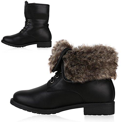 Warm Gefütterte Damen Stiefeletten Kunstfell Boots Stiefel Schwarz