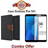 Like It Grab It Asus ZenFone Max Pro M1 Flip Cover Case COMBO OFFER Stylish Luxury Mercury Magnetic Lock Diary Wallet Style Flip Cover Case For ZenFone Max Pro M1 (BROWN) + 5D 9H Hardness Tempered Glass Screen Protector For ZenFone Max Pro M1 (Black)
