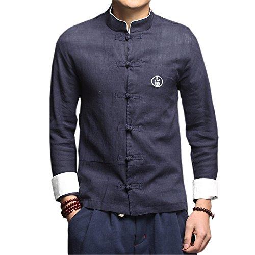 DaDag- Chinesisches Hemd Herren Slim Fit Blusen Groß Größe Freizeithemd Klassisch LangarmhemdMeditations Shirt Jacke (XXL, Dunkelblau) Klassischen Bowling-shirt