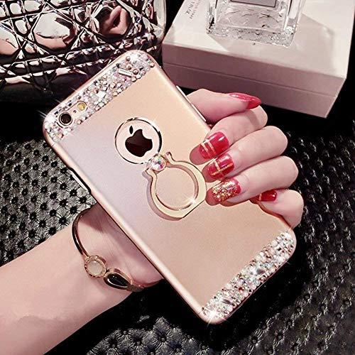 ikasefu iPhone 6Fall, iPhone 6S Schutzhülle, Kristall Bling Ring Halterung glänzend stoßfest Luxus Glitzer Funkelnd Strass Diamant Hard Bumper Schutzhülle für iPhone 6/6S gold (Iphone-ring-fall)