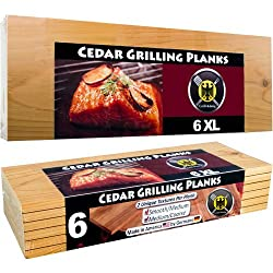 6 XL FULL LENGTH Cedar Grilling Planks - 6pack