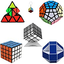 Puzzle Cubo Toy 4x4x4, Pyraminx,Megaminx,Mirror Cubo3x3x3,Serpiente Mágica Gobernante Torcedura Puzzle Cubo Blanco/Azul+mini cubo del juego llaveros (Plata)