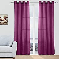 cortinas confeccionadas 2 piezas con ollaos para ventana hogar saln dormitorio comedor 100 polister - Cortinas Moradas