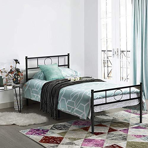 Aingoo Lit Simple en Métal Design 1 Place Cadre de Structure Métallique Comfort 90x190cm Noir (90_x_190_cm)