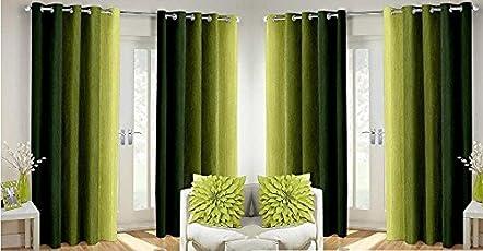 SWISSTIC Texture Solid Long Crush Curtain Set