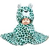 BRANDONN NEWBORN FASHIONS Baby Blanket - CHEETAH CUB Ultrasoft Premium Quality Hooded Blanket Cum Wrap For Babies(Green-White- Cheetah Cub, Pack Of 1)