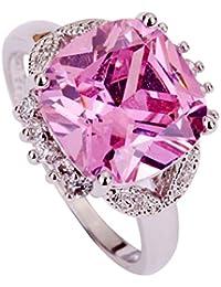 YAZILIND Gran anillo de boda para mujer, recubierto de plata, cristal rosa, regalo para mujer