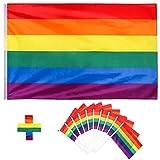 Whaline 3 x 5 ft Homosexuell Stolz Regenbogenfahne mit 10 Pack Pride Festival Karneval Flagge
