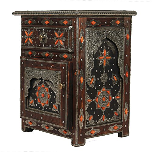 Comodino in legno massello khalifa stile bollywood oriental accent mobili vano portaoggetti 1 cassetto 1 anta e ornamenti in metallo e maniglie mo4001