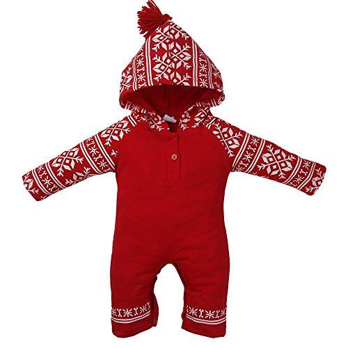 Neugeborene Baby Mädchen Jungen Weihnachten Outfits Kleidung Strampler + Pants + Hat Haarband Set, 70 cm (Halloween Ideen Mit Der Normalen Kleidung)