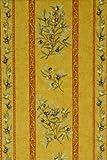 Tischdecke Maussane, gelb-cotto Oliven Stripe, ca. 140x200 cm, Baumwolle von Provencestoffe.com