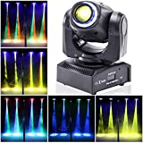 UKing Moving Head LED 50W DJ Party Lichteffekt DMX512 Disco Bühnenlicht 8 Muster 8 Farben 10/12 Kanäle Gobo Strahler mit Magischer Beleuchtungskreis für Bar Club Show (schwarz)