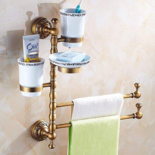 M-J Haushaltshandtuchhalter Edelstahl Gold Plus Weiß Vintage Handtuchhalter Two Bar Vintage Badezimmer Regal Hardware Anhänger Qualität und Langlebigkeit, 3 - Weiß 3 Regal Bar