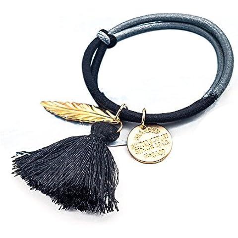 QHGstore Remiendo de la vendimia 2pcs Diseño Venda elástico del pelo de la cuerda de la borla de las mujeres de pelo gris negro