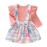 URMAGIC Abbigliamento Bambina Completi e Coordinati Completi Due Pezzi con Gonna, 2PCs Body Pagliaccetto Manica Lunga+Gonne Floreali Abiti Autunnali per 0-18 Mesi