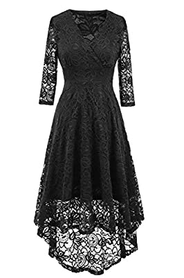 NALATI Women Summer Dress Vintage Beautiful 50's Retro Floral Lace Fabric 3/4 Long Sleeve Deep V Neck High Waist High-Low Hip Lace Party Cocktail Midi Swing Dress