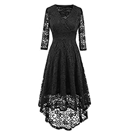 NALATI Women Lace Dress Vintage Beautiful 50's Retro Floral Fabric Deep V Neck 3/4 Long Sleeves High Waist High-Low Hip Party Cocktail Midi Swing Dress