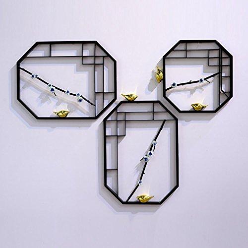 Geometria ripiani , nuovo stile cinese superficie del muro ornamento creativo famiglia soggiorno tv divano sfondo decorazione murale sospensione a muro continentale arte del ferro sospensione decorazione murale ciondolo ( size : 3 pieces )