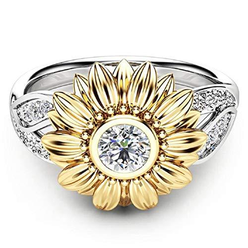 Ringe, Barlingrock Verlobungsringe Fashion Sunflower Trauringe Silber Floral Ring Runde Diamant Gold Sunflower Schmuck für Mädchen Frauen Valentine 'S Day Geburtstag Hochzeitsgeschenk 2tlg
