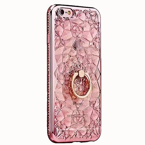 iPhone 8 Hülle, iPhone 7 Plating Gold TPU Bumper Case Soft Silikon Gel Schutzhülle mit Glitzer Bling Diamant & Kippständer Ring, Kristall Muster Stoßdämpfend Gel Schale Etui für Apple iPhone 7/8 + 1 x Rosa B
