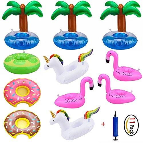 11 packs pool drink holders - pvc unicorno / flamingo / ciambelle / limone verde / albero di cocco gonfiabile galleggiante pool titolari di portabicchieri con pompa a mano per la festa in piscina divertimento acquatico