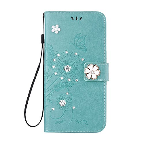 Custodia iPhone 7, iPhone 7 Flip Case Leather, SainCat Custodia in Pelle Flip Cover per iPhone 7, Custodia Bling Glitter Diamante Ultra Sottile Anti-Scratch Book Style Custodia Morbida Cover Protettiv Verde