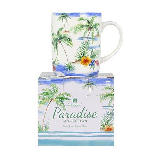 Ashdene Paradise garden - palm trees - Fine Bone China Cup Mug Porzellantasse Tasse Becher tazza taza 10,5cm 370ml, Gift box, best quality, ASHDENE, Australia Bone China Fine China Mug