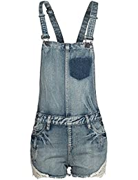 Sublevel Damen Shorts Jeans Latzshorts LSL-128 Spitze destroyed Look