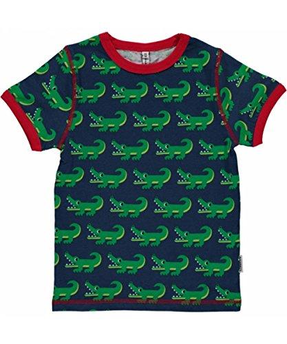 Jungen Polo Shirt Gestreift (Maxomorra Jungen T-Shirt Kurzarm Grün Krokodil Croco Biobaumwolle GOTS - Größe: 86/92)