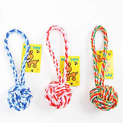 3 Piezas Juguete de Cuerda para Perro no Tóxico e Insípido Masticar Cuerdas Algodón para Cuidado Dental Durable en Color al Azar