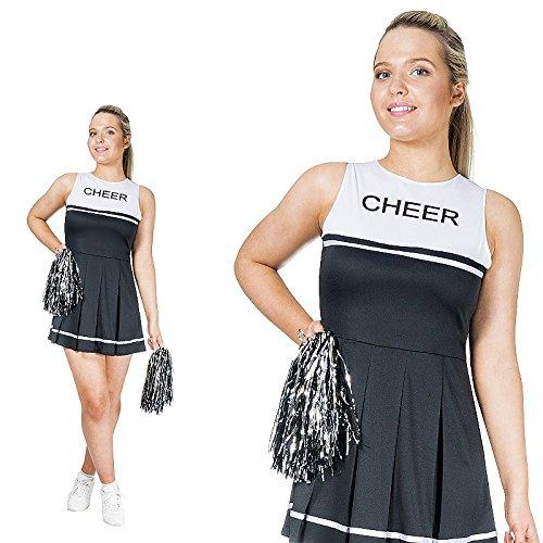 Monster Schwarz weißes Cheerleader Kostüm Größe L Damen Karneval ()