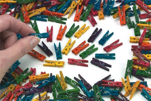 Haobase Mini Wooden Pegs - Multi Coloured 100pk Test