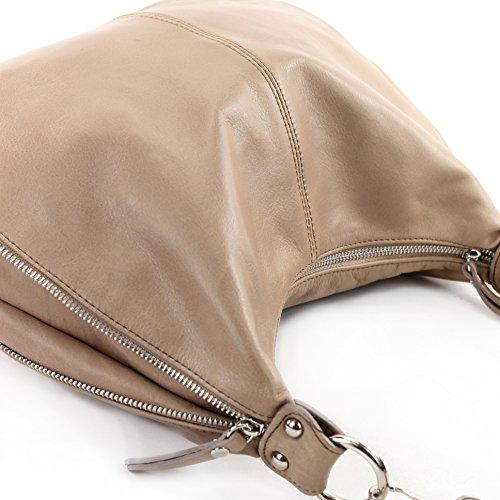 modamoda de - ital. Ledertasche Schultertasche Damentasche Umhängetasche Nappaleder T56 Braunbeige